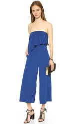 Tibi Heavy Silk Draped Jumpsuit Proton Blue