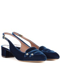 Tabitha Simmons Ines Velvet Sling Back Pumps Blue