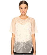 Prabal Gurung Short Sleeve Embroidered Blouse Ivory Women's Blouse White