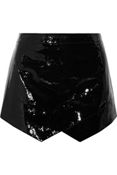 Mason By Michelle Mason Asymmetric Patent Leather Mini Skirt Black