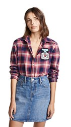 Michaela Buerger Plaid Button Down Shirt With Perfume Bottle Red Pink Plaid