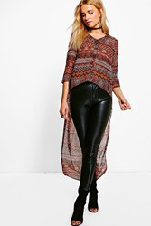 Boohoo Faith Drop Hem Aztec T Shirt Brown