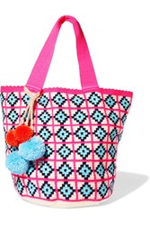 Sophie Anderson Jonas Pompom Embellished Woven Tote Pink