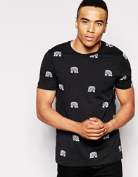Asos T Shirt With All Over Elephant Print Black