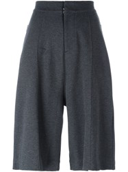 Y 3 Wide Leg Knee Length Shorts Grey