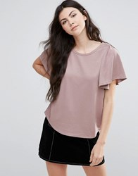 Vila T Shirt With Frill Sleeve Antler Pink