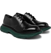 Alexander Mcqueen Exaggerated Sole Leather Derby Shoes Black