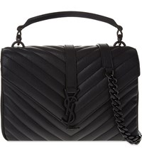 Saint Laurent Monogram College Small Quilted Leather Satchel Black Hardware