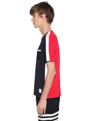 Thom Browne Two Tone Jersey T Shirt W Side Stripes Blue Red