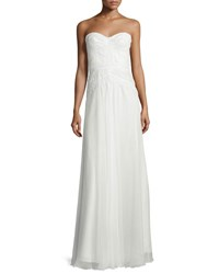 Mignon Sweetheart Neck Lace Trim Gown White