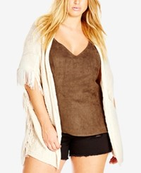 City Chic Plus Size Short Sleeve Fringe Cardigan Oyster