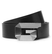 Givenchy 3Cm Black Textured Leather Belt Black