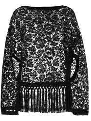 Valentino Oversized Lace Top Black