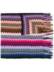 Missoni Zig Zag Crochet Knit Scarf Women Cotton One Size
