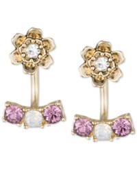 Lonna And Lilly Gold Tone Purple And Clear Crystal Flower Front Back Earrings