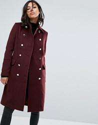 Boohoo Double Breasted Coat Red