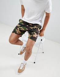 Your Turn Yourturn Jogger Shorts In Camo Green