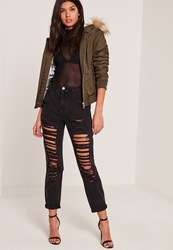 Missguided Black High Rise Ripped Mom Jeans