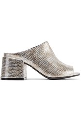 Maison Martin Margiela Mm6 Metallic Snake Effect Leather Mules Silver
