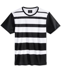 Guess Men's Stream Stripe Faux Leather Sleeve T Shirt True White Multi