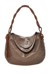 Carla Mancini Monica Twisted Strap Leather Foldover Hobo Brown