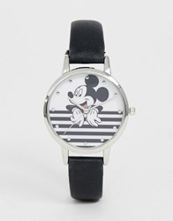 Disney Mickey Mouse Stripe Watch In Black White