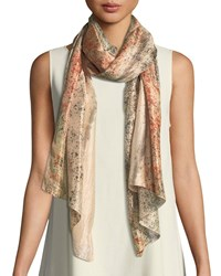 Eileen Fisher Sprinkle Dyed Silk Scarf Orange Pekoe