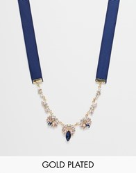 Johnny Loves Rosie Belle Statement Ribbon Necklace Blue