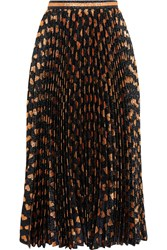 Gucci Pleated Printed Lame Skirt Black Bronze