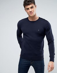French Connection Crew Neck Button Shoulder Knitted Jumper Navy