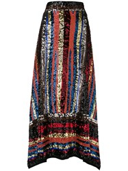 Attico Handmade Multicolor Sequin Skirt Black