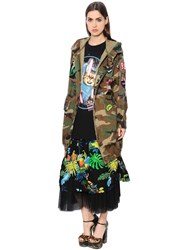 Marc Jacobs Embellished Hooded Camo Long Jacket