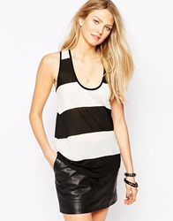 Twenty Twist Back Striped Tank Top Whiteblack