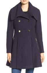 Guess Women's Envelope Collar Double Breasted Coat Navy