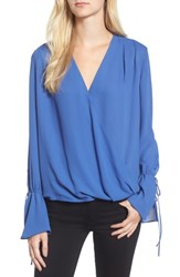 Trouve Women's Surplice Tie Sleeve Top Blue Marine