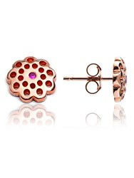 Chavin Rose Gold Flower Stud Earrings Ruby Rose Gold