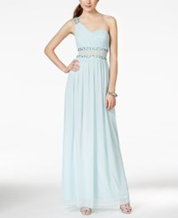 City Triangles Juniors' One Shoulder Illusion Gown