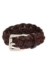 John Varvatos Braided Leather Cuff Bracelet Brown