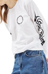 Topshop Women's Santa Monica Tattoo Tee White