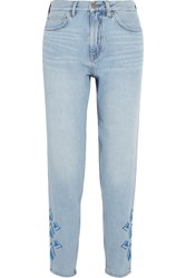 Mih Jeans M.I.H Linda Cropped Embroidered High Rise Straight Leg Light Denim