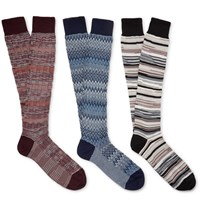 Missoni Three Pack Patterned Cotton Blend Socks Multi