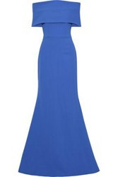 Lela Rose Woman Off The Shoulder Wool Blend Crepe Gown Blue