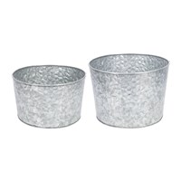 Amara Hammered Galvanised Plant Pots Set Of 2