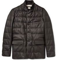 Loro Piana Martigny Cashmere Trimmed Quilted Leather Jacket Brown