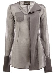 Yang Li Draped Semi Sheer Top Grey