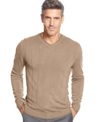 John Ashford Big And Tall Solid Long Sleeve V Neck Sweater Toasted Beige