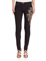 Roberto Cavalli Embroidered Skinny Jeans Black