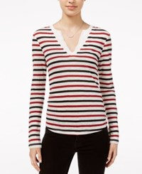 Sanctuary Parisian City Striped Long Sleeve T Shirt Brick Stripe
