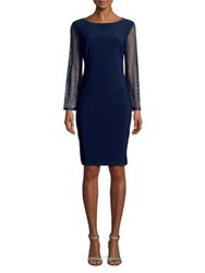 Cachet Embellished Sleeve Midi Dress Navy Silver