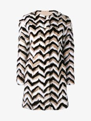 Giambattista Valli Chevron Mink Fur Coat Black White Brown Mink Neutral